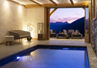 Location chalet luxe grand bornand avec piscine chauffee
